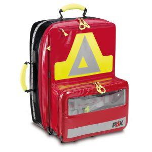 PAX Notfallrucksack Wasserkuppe L - AED Frontansicht rot Material PAX Plan