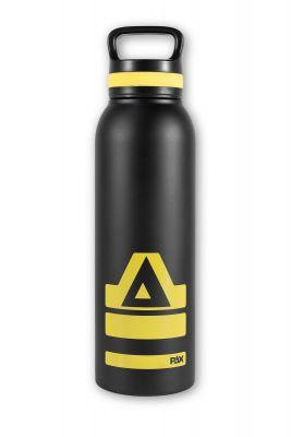 PAX Trinkflasche schwarz/gelb, Frontansicht