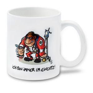 Cartoon-Tasse Immer im Einsatz - Rettungssanitäter