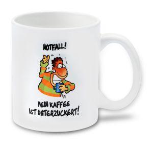 Cartoon-Tasse Kaffee unterzuckert