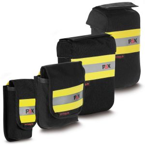 PAX All-purpose holster tape sling. Overview of PAX holsters for tape loops, color black, different designs.