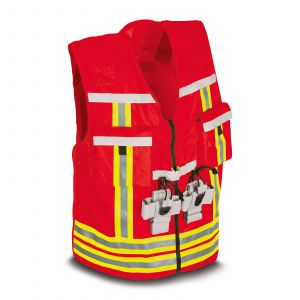 PAX executive identification waistcoat in the colour red.