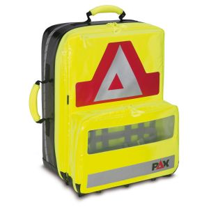 PAX emergency backpack Wasserkuppe L - AED, front view, color daylight yellow, material PAX Plan.