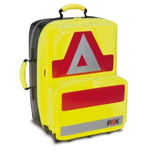 PAX emergency backpack Wasserkuppe L-FT , color daylight yellow, material PAX-Plan, front view.