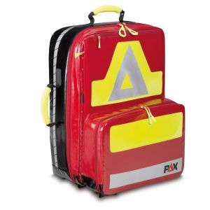 PAX emergency backpack Wasserkuppe L-FT Material PAX tarpaulin color red. Front view.