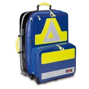 PAX emergency backpack Wasserkuppe L-FT, color blue, material PAX-Tec, front view.