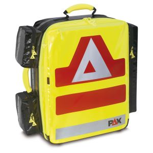 PAX emergency backpack Wasserkuppe L-ST, front view. Material PAX-Plan, color daylight yellow.