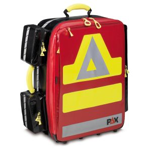 PAX emergency backpack Wasserkuppe L-ST, front view. Material PAX-Tec, color red.