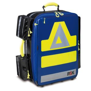 PAX emergency backpack Wasserkuppe L-ST,  front view, material PAX Tec, color blue.
