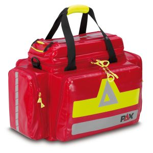 PAX emergency bag Dresden, front view closed, material PAX Plan, color red.