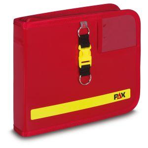 PAX logbook DIN A5 landscape, color red, material PAX-Plan, PAX-Tec, front view.