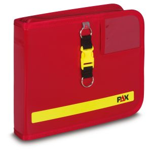 PAX logbook DIN A5 landscape, color red, material PAX-Plan, front view.
