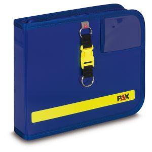 PAX logbook DIN A5 landscape, color blue, material PAX-Light, front view.