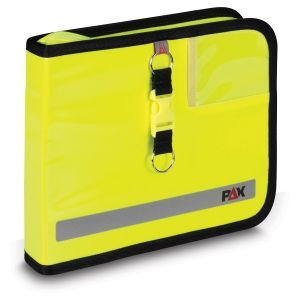 PAX logbook DIN A5 landscape, color daylight yellow, material PAX-Plan, front view.