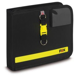 PAX logbook DIN A5 landscape, color black, material PAX-Light, front view.
