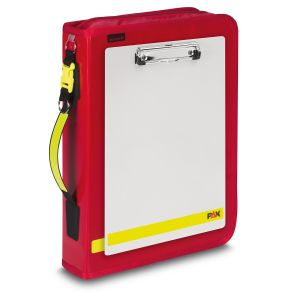 PAX Logbook Multi Organizer in the color red from PAX-Plane. Front view with clipboard