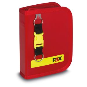 PAX logbook DIN A6 high, colour red, front view, material PAX-Plan.