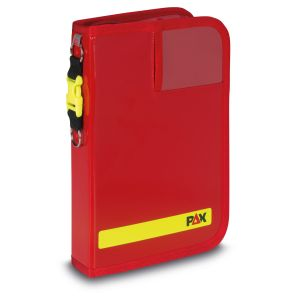 PAX logbook DIN A5-high tablet, front view, color red, material PAX-Plan.