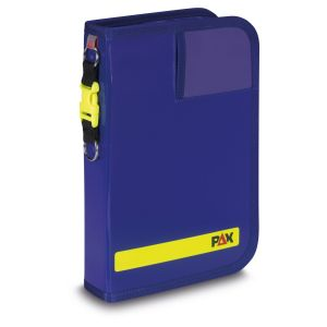 PAX logbook DIN A5-high tablet, front view, color blue, material PAX-Plan.