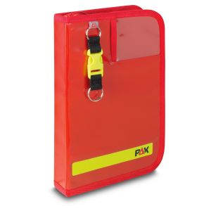 PAX logbook DIN A5 high navi-bag, color red, front view.