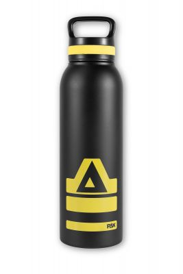 PAX drinking bottle, black/yellow, front view